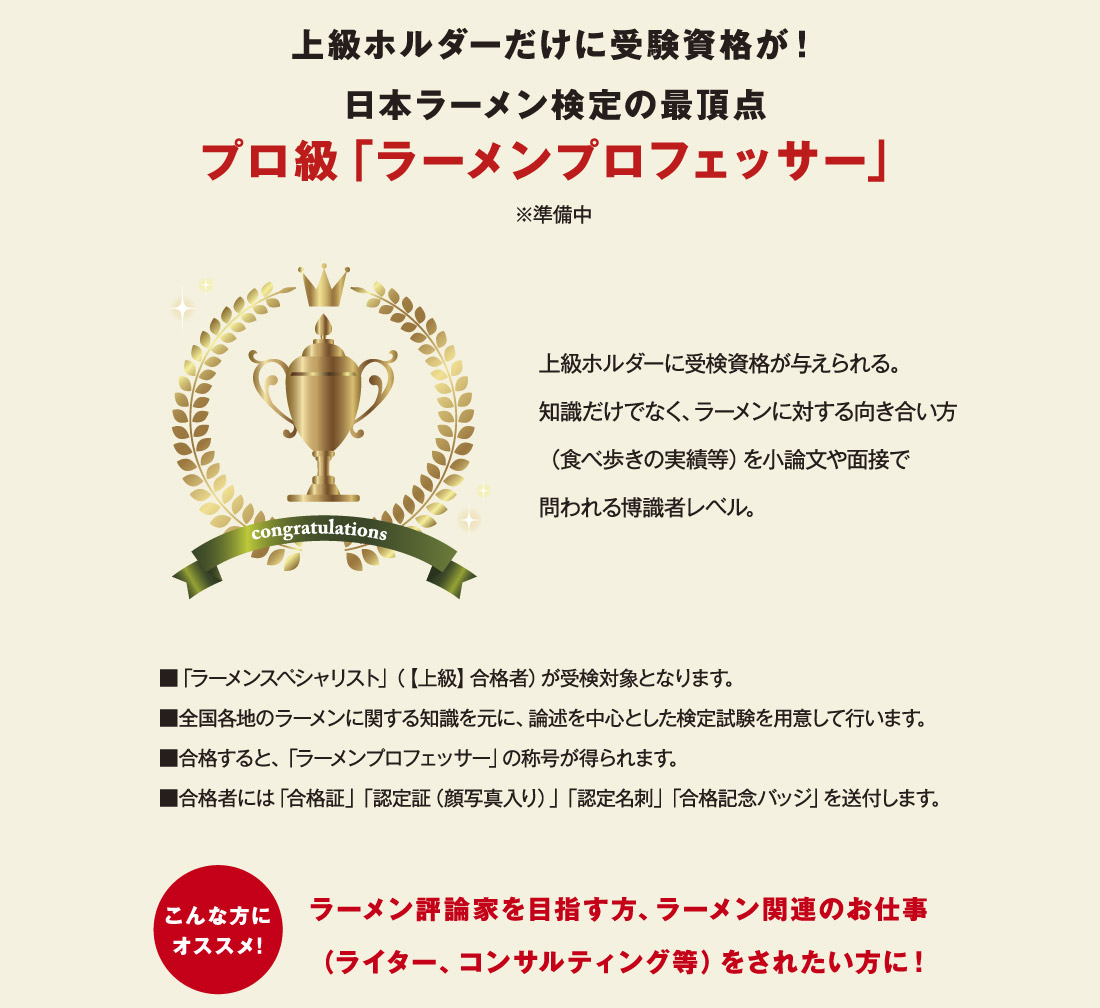 上級ホルダーだけに受験資格が!日本ラーメン検定の最頂点プロ級「ラーメンプロフェッサー」※準備中 上級ホルダーに受検資格が与えられる。知識だけでなく、ラーメンに対する向き合い方 ■「ラーメンスペシャリスト」(【上級】合格者)が受検対象となります。 ■全国各地のラーメンに関する知識を元に、論述を中心とした検定試験を用意して行います。■合格すると、「ラーメンプロフェッサー」の称号が得られます。 ■合格者には「合格証」「認定証(顔写真入り)」「認定名刺」「合格記念バッジ」を送付します。(食べ歩きの実績等)を小論文や面接で問われる博識者レベル。 こんな方にオススメ! ラーメン評論家を目指す方、ラーメン関連のお仕事(ライター、コンサルティング等)をされたい方に!