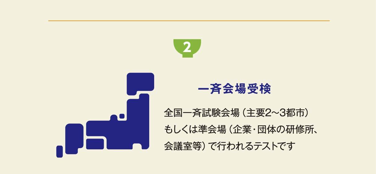 2 一斉会場受検 全国一斉試験会場(主要2~3都市)もしくは準会場(企業・団体の研修所、会議室等)で行われるテストです